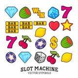 Σύμβολα μηχανημάτων τυχερών παιχνιδιών με κέρματα Στοκ φωτογραφίες με δικαίωμα ελεύθερης χρήσης