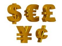 Σύμβολα νομίσματος στο χρυσό Στοκ Φωτογραφία
