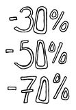 Σύμβολα πώλησης percents Στοκ Εικόνες