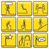 Σύμβολα σημαδιών των μικρών ατόμων από τις πολύ απλές γραμμές Στοκ φωτογραφία με δικαίωμα ελεύθερης χρήσης