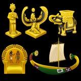 Σύμβολα της Αιγύπτου, των μνημείων, και άλλων στοιχείων διανυσματική απεικόνιση
