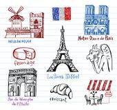 Σύμβολα της Γαλλίας ως φοβιτσιάρη doodles Στοκ Φωτογραφίες