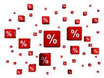 Σύμβολα τοις εκατό στους κόκκινους κύβους Στοκ φωτογραφίες με δικαίωμα ελεύθερης χρήσης