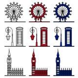 Σύμβολα του Λονδίνου καθορισμένα - διάσημα κτήρια Στοκ Φωτογραφία