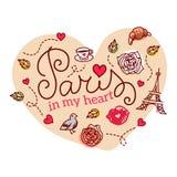 Σύμβολα του Παρισιού επίσης corel σύρετε το διάνυσμα απεικόνισης Στοκ Φωτογραφίες