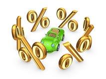 Σύμβολα των percents γύρω από το πράσινο αυτοκίνητο. διανυσματική απεικόνιση