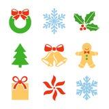 Σύμβολα Χριστουγέννων καθορισμένα Στοκ φωτογραφία με δικαίωμα ελεύθερης χρήσης
