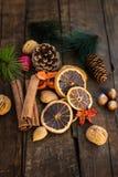Σύμβολα Χριστουγέννων όπως τα καρύδια, πορτοκαλιές φέτες, κλάδοι δέντρων, cranber Στοκ Εικόνα