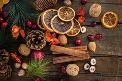 Σύμβολα Χριστουγέννων όπως τα καρύδια, πορτοκαλιές φέτες, κλάδοι δέντρων, cranber Στοκ εικόνα με δικαίωμα ελεύθερης χρήσης