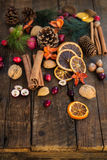 Σύμβολα Χριστουγέννων όπως τα καρύδια, πορτοκαλιές φέτες, κλάδοι δέντρων, cranber Στοκ Εικόνες