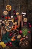 Σύμβολα Χριστουγέννων όπως τα καρύδια, πορτοκαλιές φέτες, κλάδοι δέντρων, cranber Στοκ Φωτογραφία