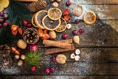 Σύμβολα Χριστουγέννων όπως το χιόνι, καρύδια, μούρα Στοκ εικόνες με δικαίωμα ελεύθερης χρήσης