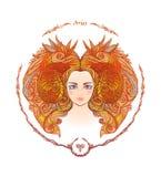 σύμβολα δώδεκα σημαδιών σχεδίου έργων τέχνης διάφορο zodiac Πορτρέτο μιας γυναίκας aridly ελεύθερη απεικόνιση δικαιώματος