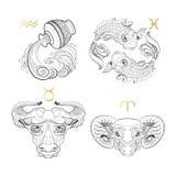 σύμβολα δώδεκα σημαδιών σχεδίου έργων τέχνης διάφορο zodiac Υδροχόος Pisces Taurus Aries διανυσματική απεικόνιση