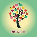 Σύμβολο δέντρων της Apple των υγιών τροφίμων και των φρούτων Στοκ Φωτογραφία