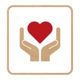 Σύμβολο λαβών με προσοχή με την κόκκινη καρδιά Στοκ Εικόνες