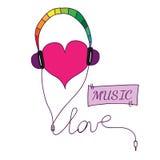 Σύμβολο αγάπης με την καρδιά στα ακουστικά με το κείμενο αγάπης και μουσικής Στοκ Εικόνες