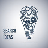 Σύμβολο αναζήτησης ιδέας Λάμπα φωτός με cogwheels Στοκ εικόνες με δικαίωμα ελεύθερης χρήσης