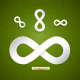 Σύμβολο απείρου εγγράφου στο πράσινο υπόβαθρο Στοκ εικόνα με δικαίωμα ελεύθερης χρήσης