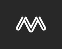 Σύμβολο αλφάβητου εικονιδίων γραμμάτων Μ Σημάδι σχεδίου εικονιδίων λογότυπων γραμμάτων Μ Στοκ Φωτογραφίες