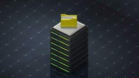 Σύμβολο βάσεων δεδομένων και φάκελλος υπολογιστών Κεντρικός υπολογιστής βάσεων δεδομένων διανυσματική απεικόνιση