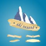 Σύμβολο βουνών με την κορδέλλα Στοκ Εικόνες