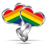 Σύμβολο γάμου ομοφυλοφίλων με τα άσπρα χρυσά δαχτυλίδια. ελεύθερη απεικόνιση δικαιώματος