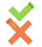 Σύμβολο διασταύρωσης ναι ή όχι διάνυσμα Στοκ Εικόνες