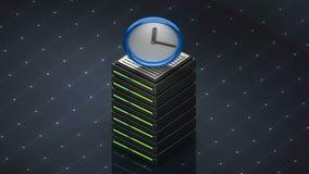 Σύμβολο και ρολόι βάσεων δεδομένων Κεντρικός υπολογιστής βάσεων δεδομένων απεικόνιση αποθεμάτων