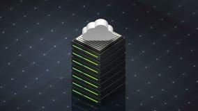 Σύμβολο και σύννεφο βάσεων δεδομένων Κεντρικός υπολογιστής βάσεων δεδομένων απεικόνιση αποθεμάτων
