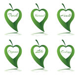 Σύμβολο καρδιών με τη λέξη στο πράσινο φύλλο Στοκ φωτογραφία με δικαίωμα ελεύθερης χρήσης