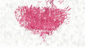 Σύμβολο καρδιών που γίνεται από τη ζωντανεψοντη αγάπη λέξεων φιλμ μικρού μήκους
