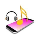 Σύμβολο μουσικής με το smartphone, τηλεφωνική απεικόνιση κυττάρων Στοκ Εικόνες