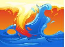 Σύμβολο 3 νερού και πυρκαγιάς yin yang απεικόνιση αποθεμάτων