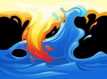 Σύμβολο νερού και πυρκαγιάς yin yang ελεύθερη απεικόνιση δικαιώματος