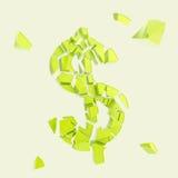 Σύμβολο νομίσματος δολαρίων που σπάζουν στα μικροσκοπικά κομμάτια που απομονώνονται Στοκ Εικόνα