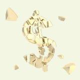 Σύμβολο νομίσματος Δολ ΗΠΑ δολαρίων που σπάζουν στα κομμάτια Στοκ Φωτογραφίες