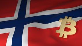 Σύμβολο νομίσματος Bitcoin στη σημαία της Νορβηγίας ελεύθερη απεικόνιση δικαιώματος