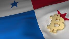 Σύμβολο νομίσματος Bitcoin στη σημαία του Παναμά απεικόνιση αποθεμάτων