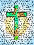 Σύμβολο πίστης. Λεκιασμένος glassCross απεικόνιση αποθεμάτων