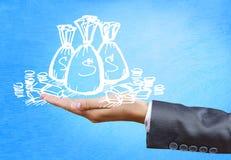 σύμβολο ποσοστού χρημάτων χεριών τραπεζικής έννοιας Στοκ Εικόνα