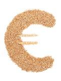 Σύμβολο που γίνεται ευρο- από το σιτάρι σίτου Στοκ Εικόνες
