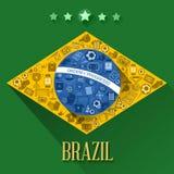 Σύμβολο σημαιών ποδοσφαίρου της Βραζιλίας διανυσματική απεικόνιση