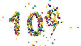 σύμβολο 10 τοις εκατό στις πολύχρωμες σφαίρες φιλμ μικρού μήκους