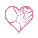 Σύμβολο του θηλάζοντας μωρού μητέρων, γυναίκα που ταΐζει το νεογέννητο μωρό Στοκ φωτογραφία με δικαίωμα ελεύθερης χρήσης