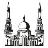 Σύμβολο του Ισλάμ. Σκιαγραφία του μουσουλμανικού τεμένους. Ramadan. Στοκ Εικόνες