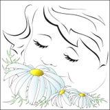 Σύμβολο του καλοκαιριού, το κορίτσι με τα camomiles Στοκ φωτογραφία με δικαίωμα ελεύθερης χρήσης