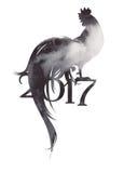 σύμβολο του 2017 του κόκκορα στα γκρίζα χρώματα Στοκ Εικόνες