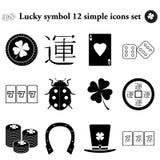 Σύμβολο 12 τύχης απλό εικονίδιο στο ζωηρόχρωμο υπόβαθρο Στοκ Φωτογραφία