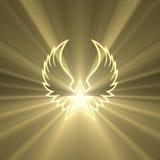 Σύμβολο φτερών αστεριών με τις ισχυρές ελαφριές φλόγες Στοκ Εικόνες